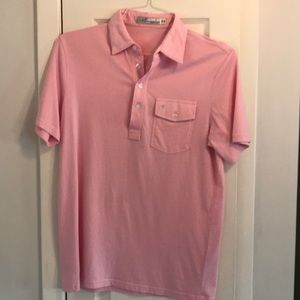 Men's Pink Polo with pocket stays